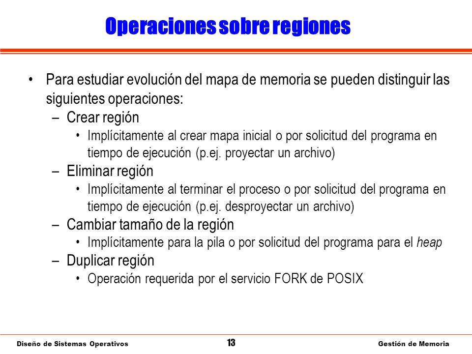 Diseño de Sistemas Operativos 13 Gestión de Memoria Operaciones sobre regiones Para estudiar evolución del mapa de memoria se pueden distinguir las siguientes operaciones: –Crear región Implícitamente al crear mapa inicial o por solicitud del programa en tiempo de ejecución (p.ej.