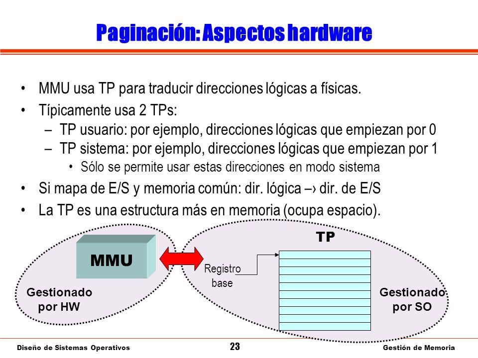 Diseño de Sistemas Operativos 23 Gestión de Memoria Paginación: Aspectos hardware MMU usa TP para traducir direcciones lógicas a físicas.