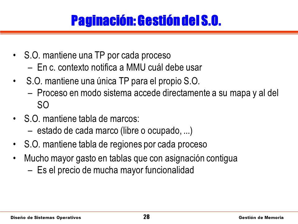 Diseño de Sistemas Operativos 28 Gestión de Memoria Paginación: Gestión del S.O.