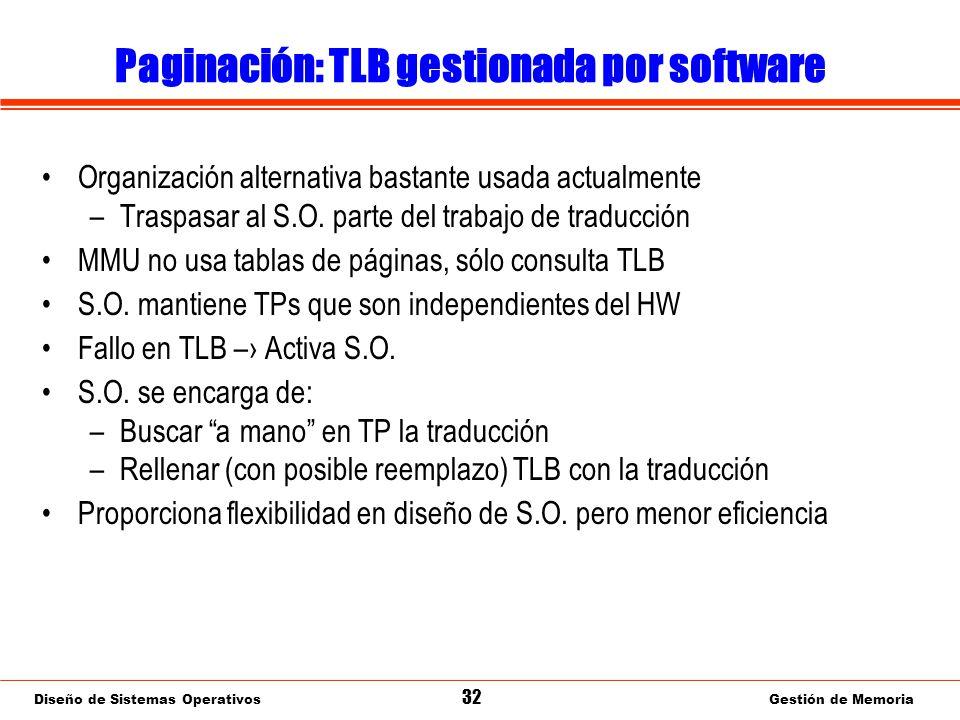Diseño de Sistemas Operativos 32 Gestión de Memoria Paginación: TLB gestionada por software Organización alternativa bastante usada actualmente –Traspasar al S.O.