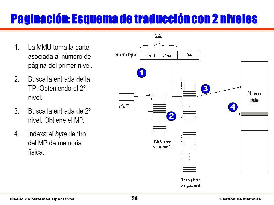 Diseño de Sistemas Operativos 34 Gestión de Memoria Paginación: Esquema de traducción con 2 niveles 1.La MMU toma la parte asociada al número de página del primer nivel.