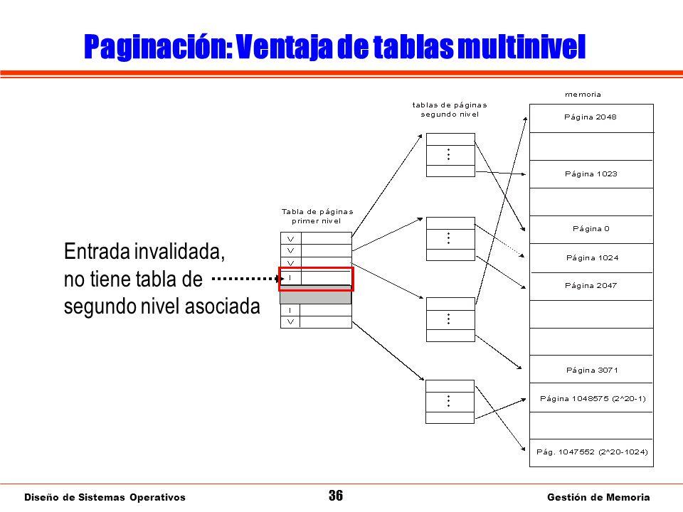 Diseño de Sistemas Operativos 36 Gestión de Memoria Paginación: Ventaja de tablas multinivel Entrada invalidada, no tiene tabla de segundo nivel asociada