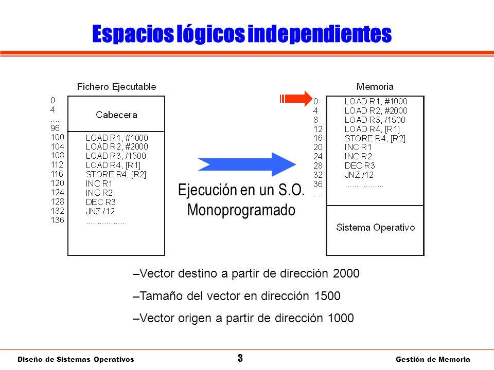 Diseño de Sistemas Operativos 44 Gestión de Memoria Segmentación Paginada: Valoración ¿Proporciona las funciones deseables en un gestor de memoria.