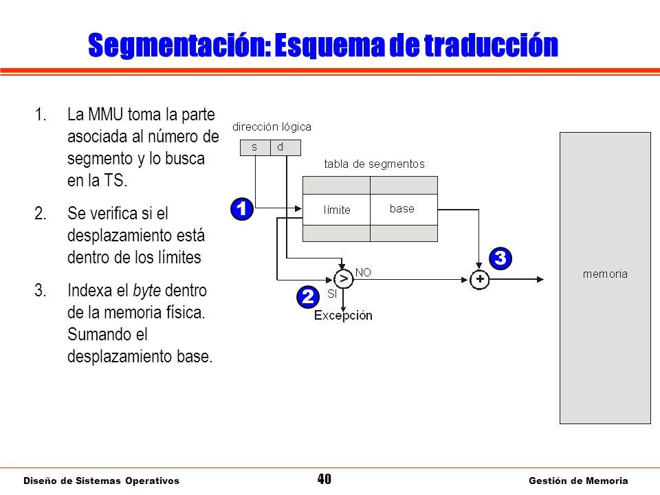 Diseño de Sistemas Operativos 40 Gestión de Memoria Segmentación: Esquema de traducción 1.La MMU toma la parte asociada al número de segmento y lo busca en la TS.