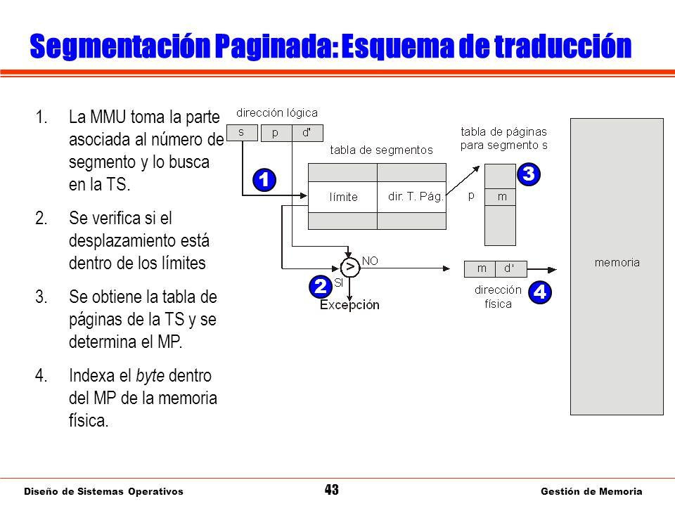 Diseño de Sistemas Operativos 43 Gestión de Memoria Segmentación Paginada: Esquema de traducción 1.La MMU toma la parte asociada al número de segmento y lo busca en la TS.