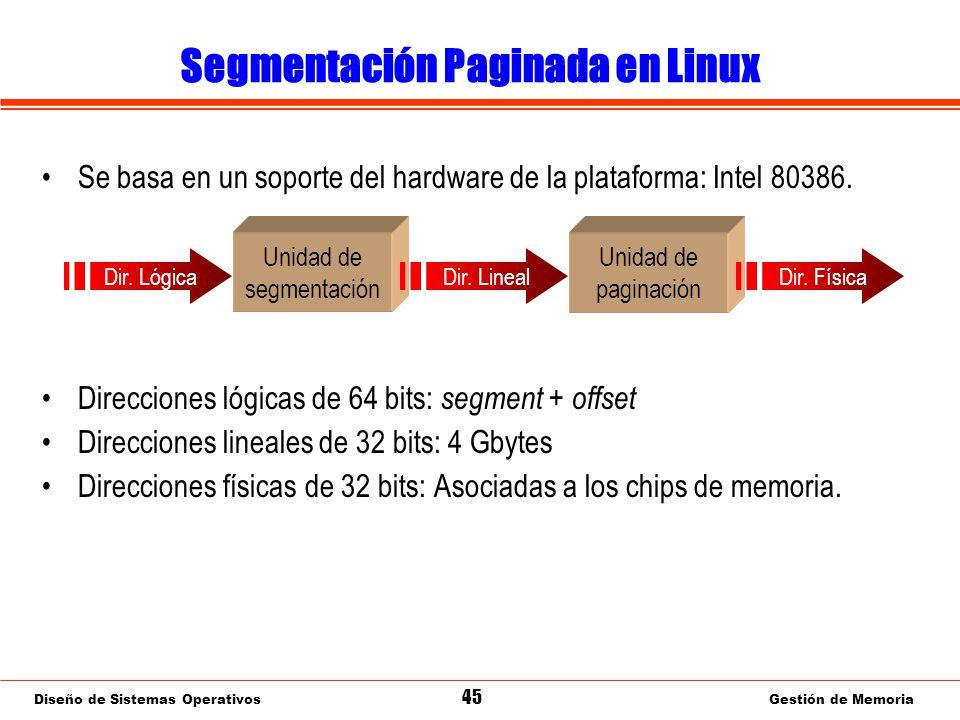 Diseño de Sistemas Operativos 45 Gestión de Memoria Segmentación Paginada en Linux Se basa en un soporte del hardware de la plataforma: Intel 80386.