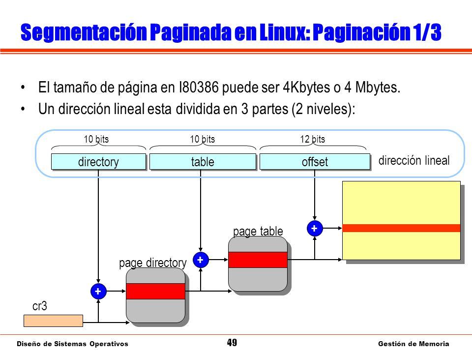 Diseño de Sistemas Operativos 49 Gestión de Memoria Segmentación Paginada en Linux: Paginación 1/3 El tamaño de página en I80386 puede ser 4Kbytes o 4 Mbytes.