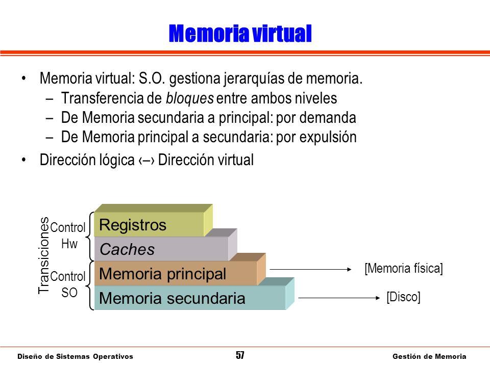 Diseño de Sistemas Operativos 57 Gestión de Memoria Memoria virtual Memoria virtual: S.O.
