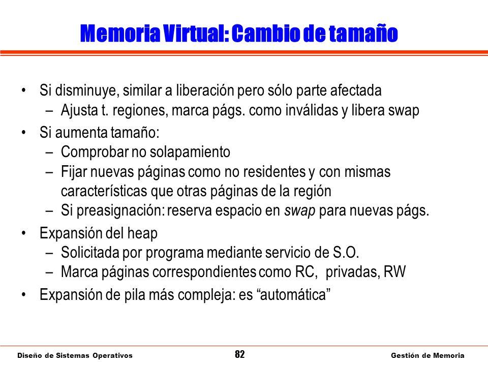 Diseño de Sistemas Operativos 82 Gestión de Memoria Memoria Virtual: Cambio de tamaño Si disminuye, similar a liberación pero sólo parte afectada –Ajusta t.
