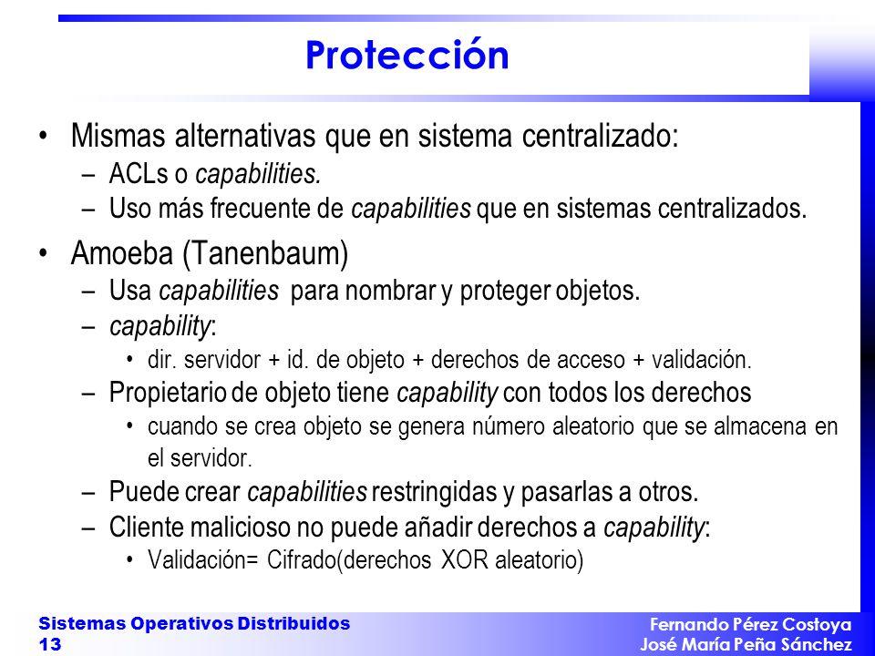 Fernando Pérez Costoya José María Peña Sánchez Sistemas Operativos Distribuidos 13 Protección Mismas alternativas que en sistema centralizado: –ACLs o