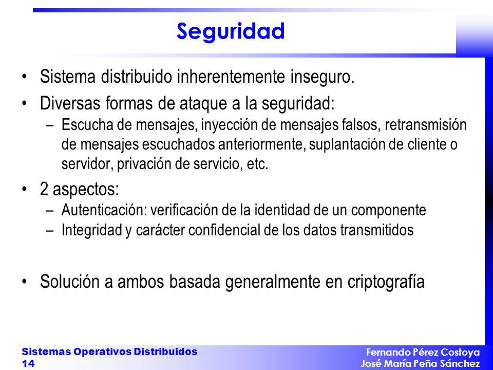 Fernando Pérez Costoya José María Peña Sánchez Sistemas Operativos Distribuidos 14 Seguridad Sistema distribuido inherentemente inseguro. Diversas for