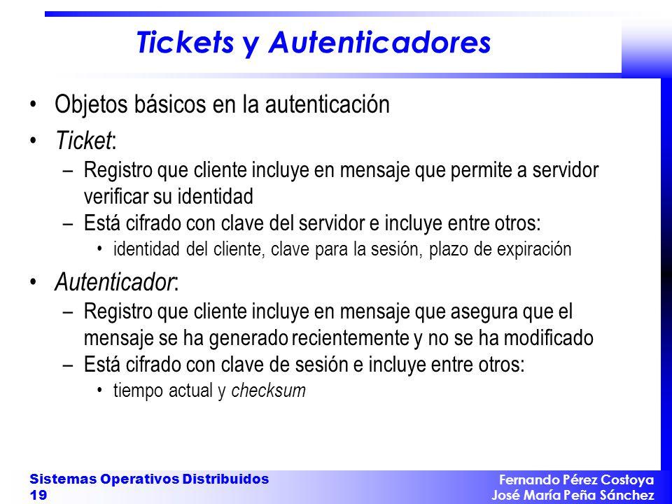Fernando Pérez Costoya José María Peña Sánchez Sistemas Operativos Distribuidos 19 Tickets y Autenticadores Objetos básicos en la autenticación Ticket