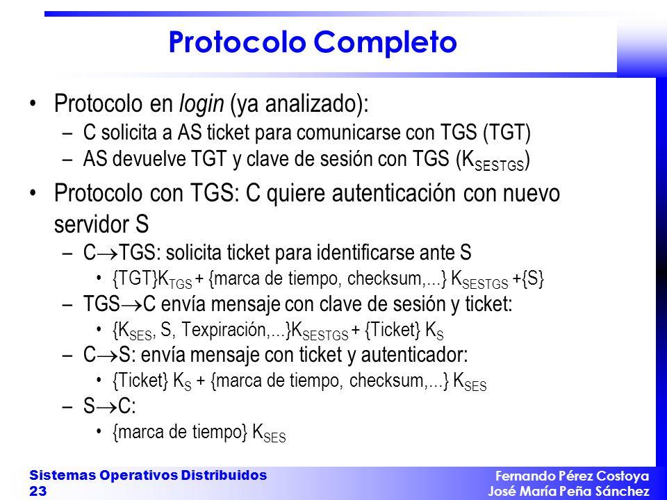 Fernando Pérez Costoya José María Peña Sánchez Sistemas Operativos Distribuidos 23 Protocolo Completo Protocolo en login (ya analizado): –C solicita a