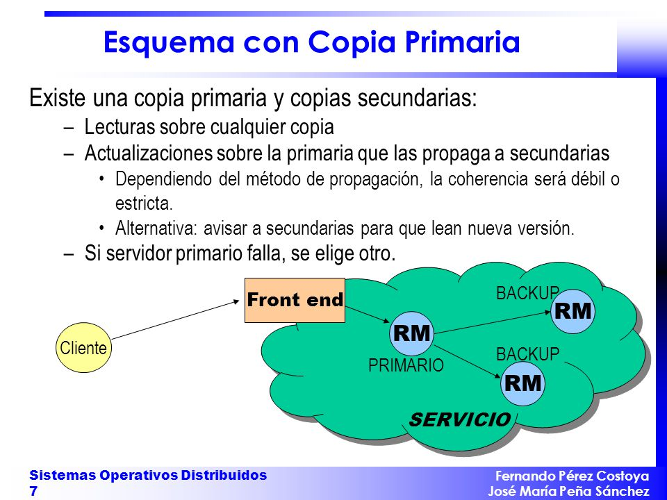 Fernando Pérez Costoya José María Peña Sánchez Sistemas Operativos Distribuidos 7 Esquema con Copia Primaria Existe una copia primaria y copias secund