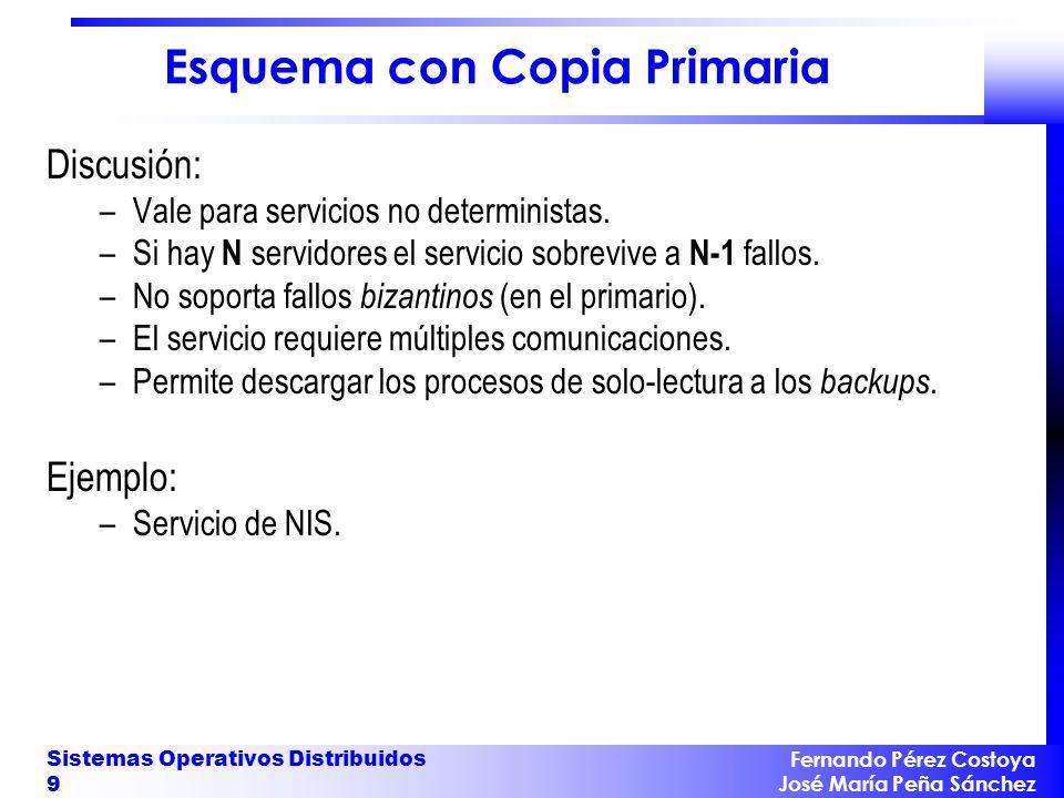 Fernando Pérez Costoya José María Peña Sánchez Sistemas Operativos Distribuidos 9 Esquema con Copia Primaria Discusión: –Vale para servicios no determ