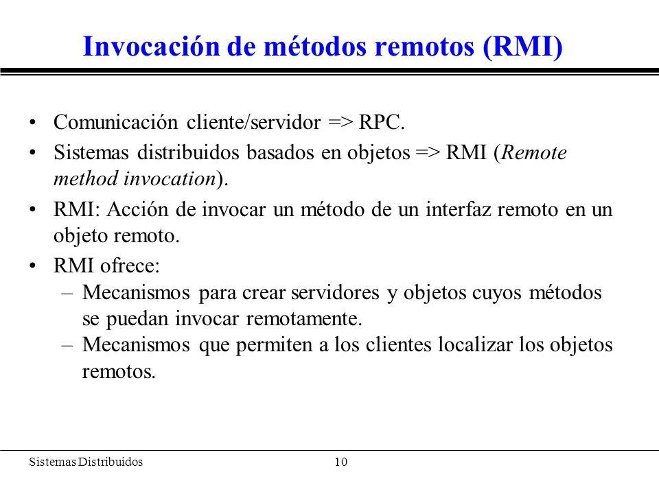 Sistemas Distribuidos 11 Invocación de métodos remotos en Java Java RMI El soporte para RMI en Java está basado en las interfaces y clases definidas en los paquetes java.rmi y java.rmi.server Características de Java RMI: –No requiere un IDL (Interface Definition Language).