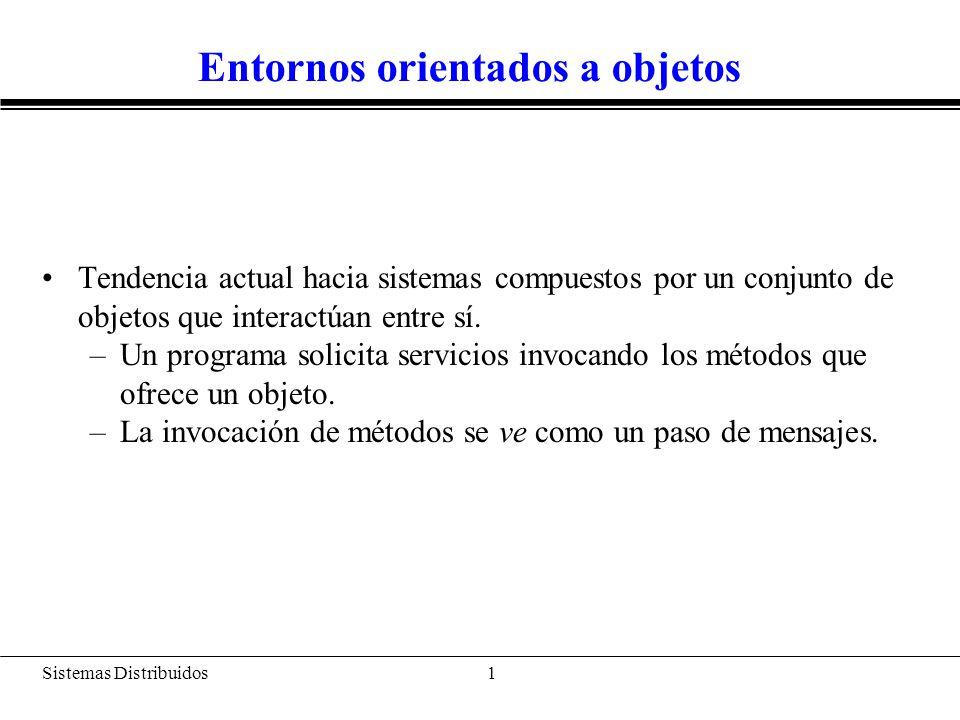 Sistemas Distribuidos 2 Entornos orientados a objetos DATOS Implementación de métodos (op1, op2,..., opN) op1 op2 opN