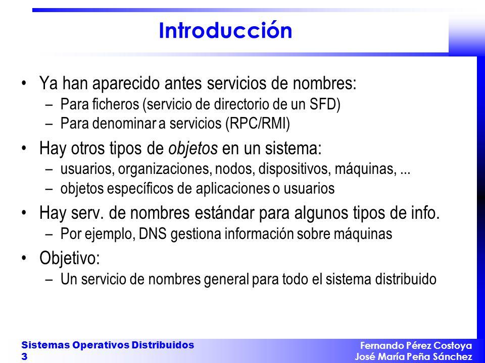 Fernando Pérez Costoya José María Peña Sánchez Sistemas Operativos Distribuidos 3 Introducción Ya han aparecido antes servicios de nombres: –Para fich