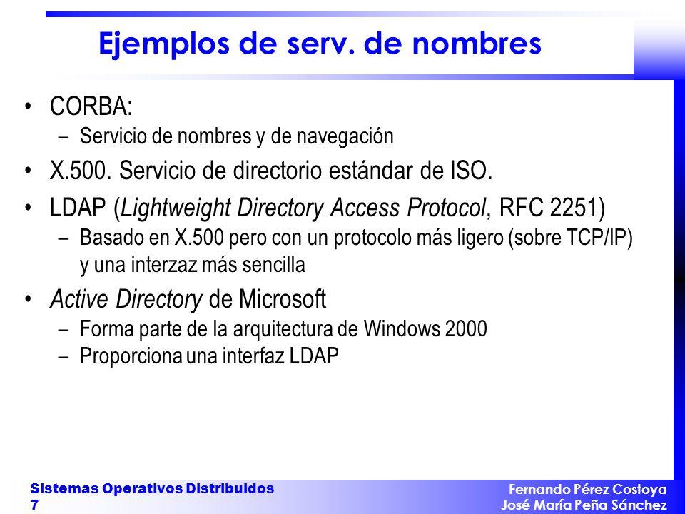 Fernando Pérez Costoya José María Peña Sánchez Sistemas Operativos Distribuidos 7 Ejemplos de serv. de nombres CORBA: –Servicio de nombres y de navega