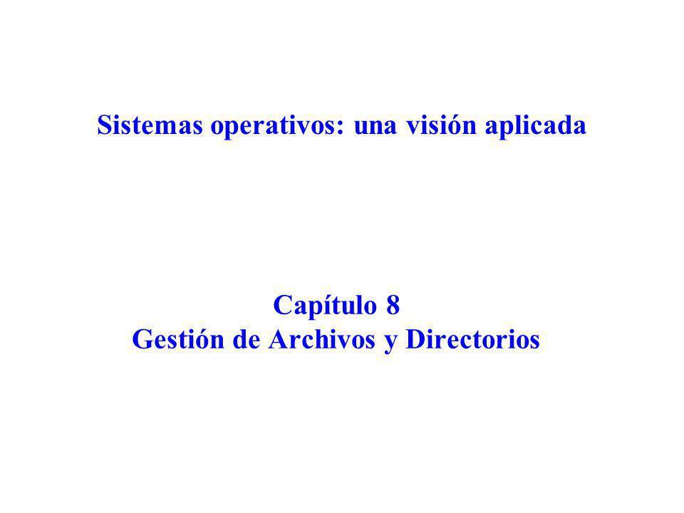 Capítulo 8 Gestión de Archivos y Directorios Sistemas operativos: una visión aplicada