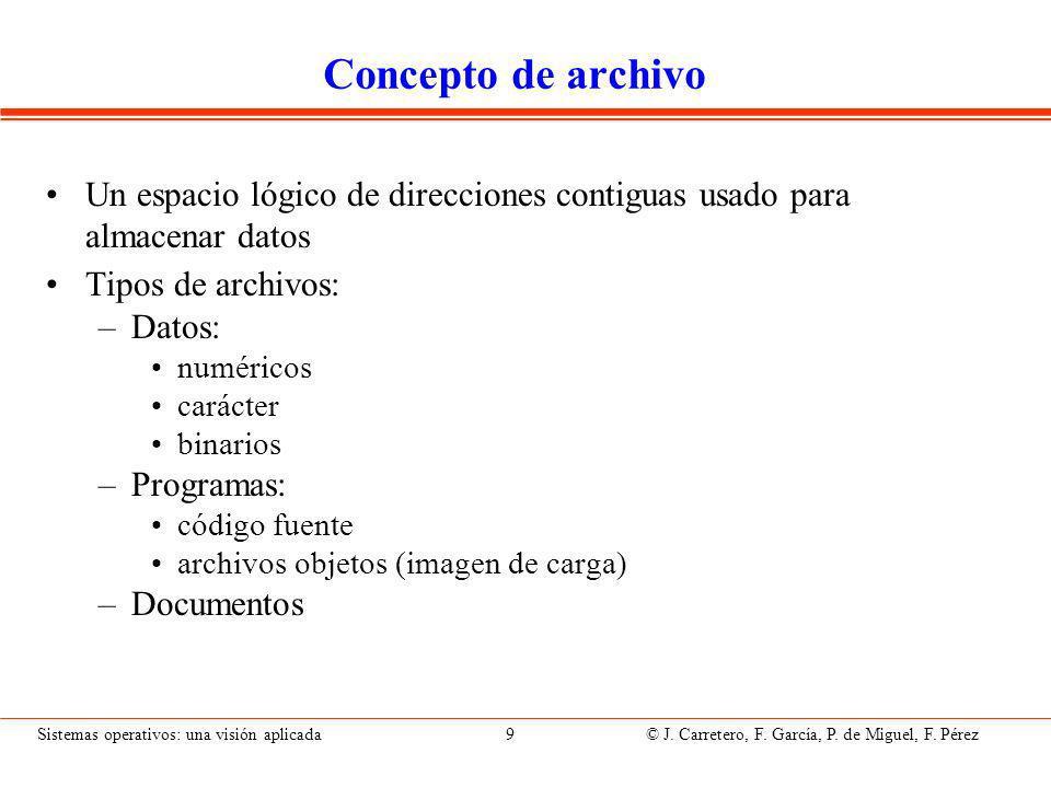 Sistemas operativos: una visión aplicada 9 © J.Carretero, F.