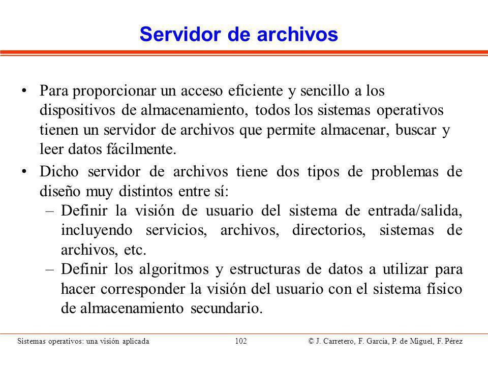 Sistemas operativos: una visión aplicada 102 © J.Carretero, F.