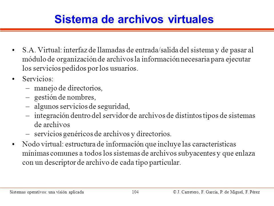 Sistemas operativos: una visión aplicada 104 © J.Carretero, F.
