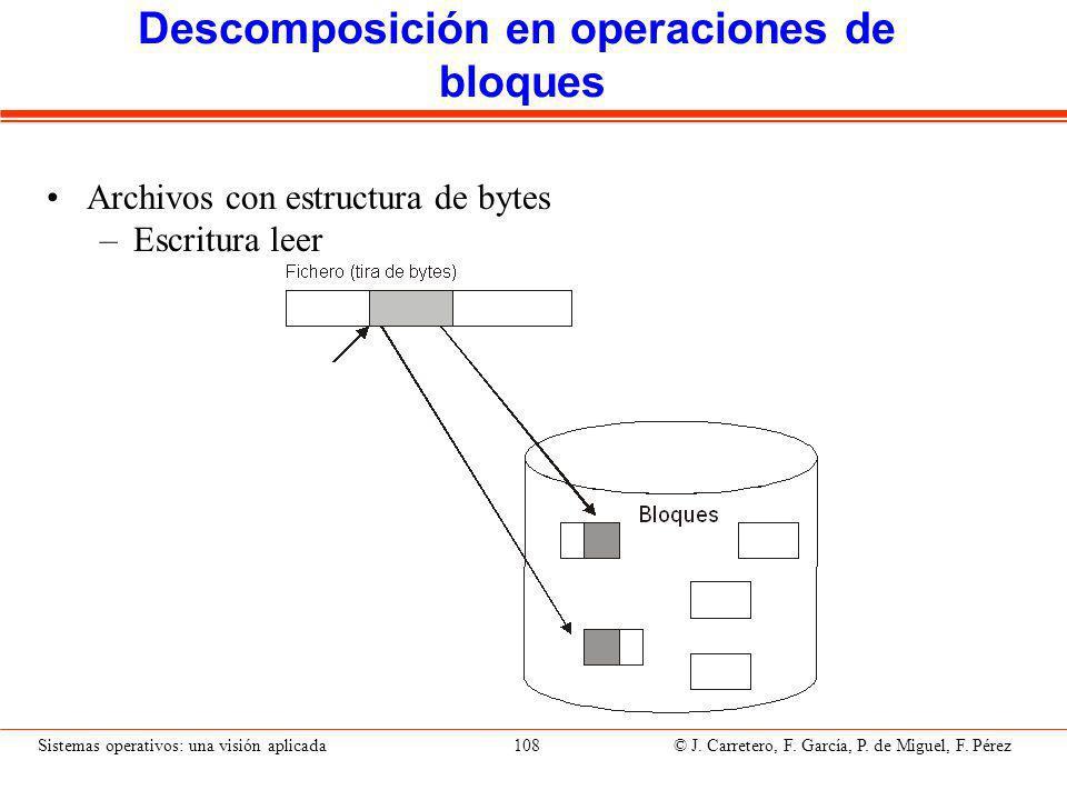 Sistemas operativos: una visión aplicada 108 © J.Carretero, F.