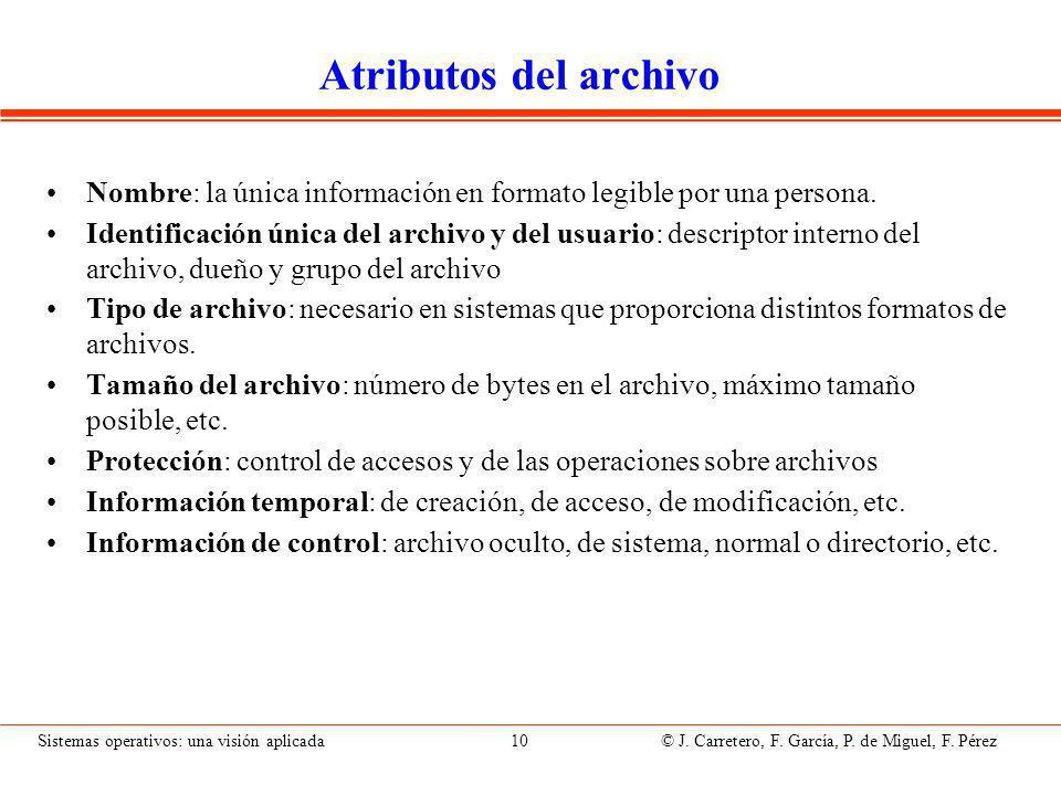 Sistemas operativos: una visión aplicada 10 © J.Carretero, F.