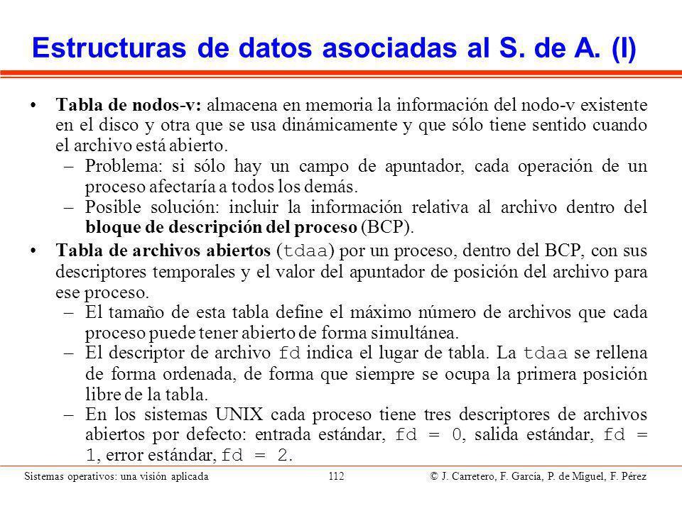 Sistemas operativos: una visión aplicada 112 © J.Carretero, F.