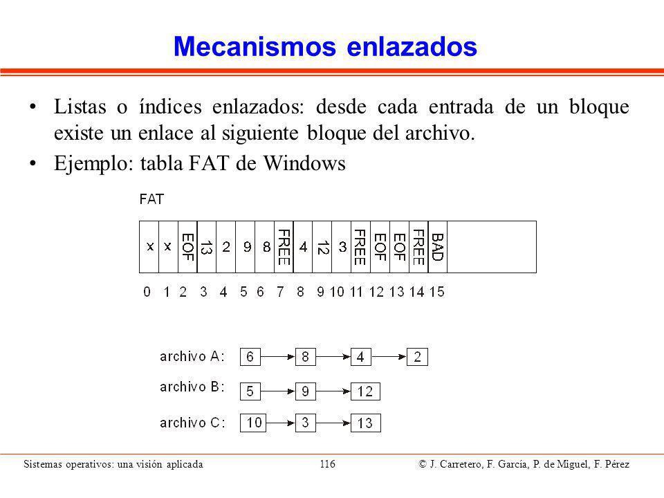 Sistemas operativos: una visión aplicada 116 © J.Carretero, F.