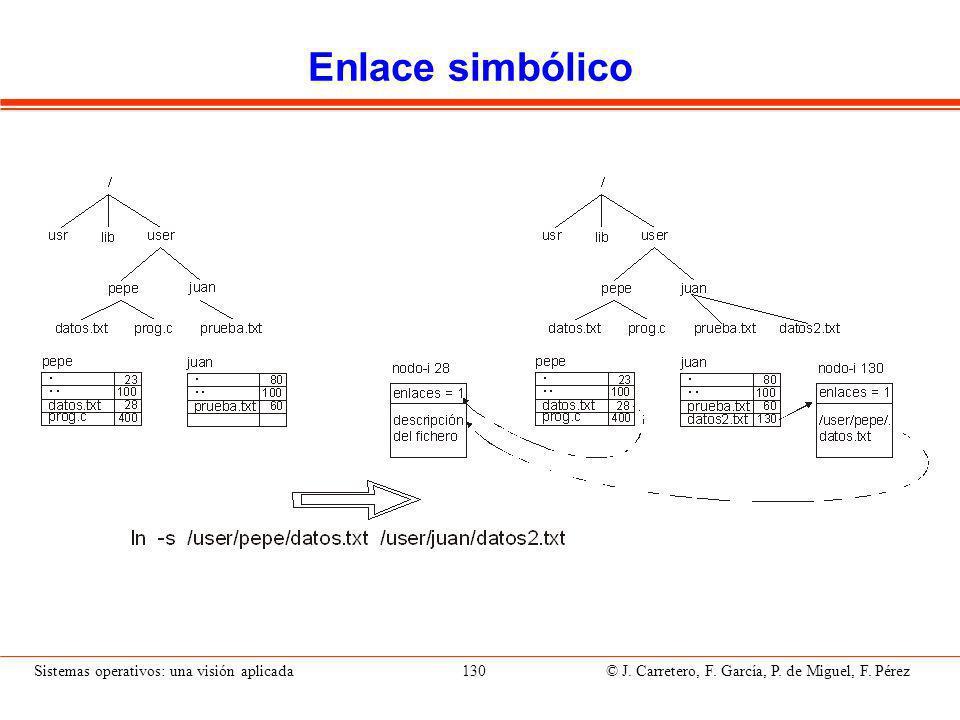 Sistemas operativos: una visión aplicada 130 © J.Carretero, F.