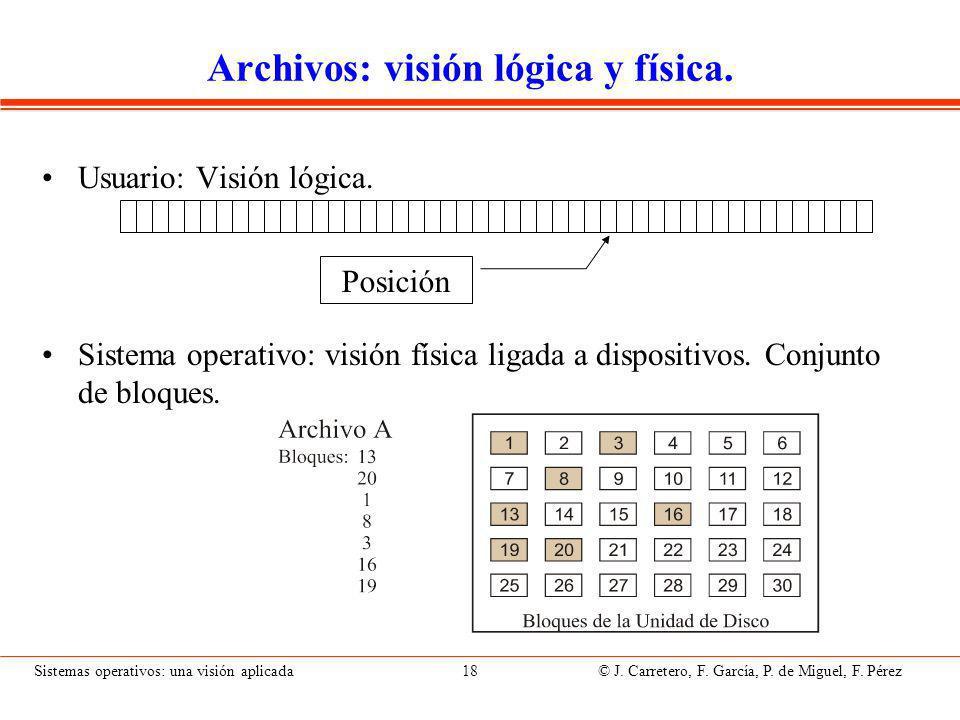 Sistemas operativos: una visión aplicada 18 © J.Carretero, F.