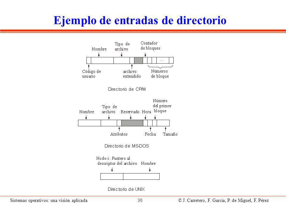 Sistemas operativos: una visión aplicada 30 © J.Carretero, F.