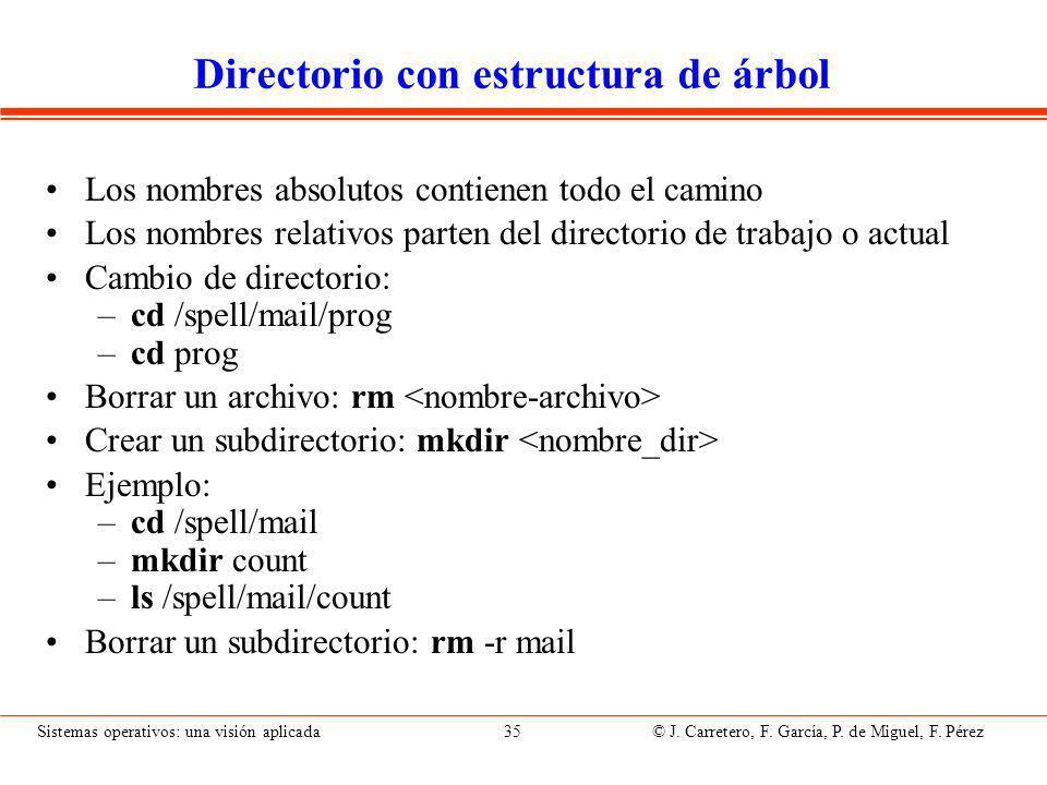 Sistemas operativos: una visión aplicada 35 © J.Carretero, F.