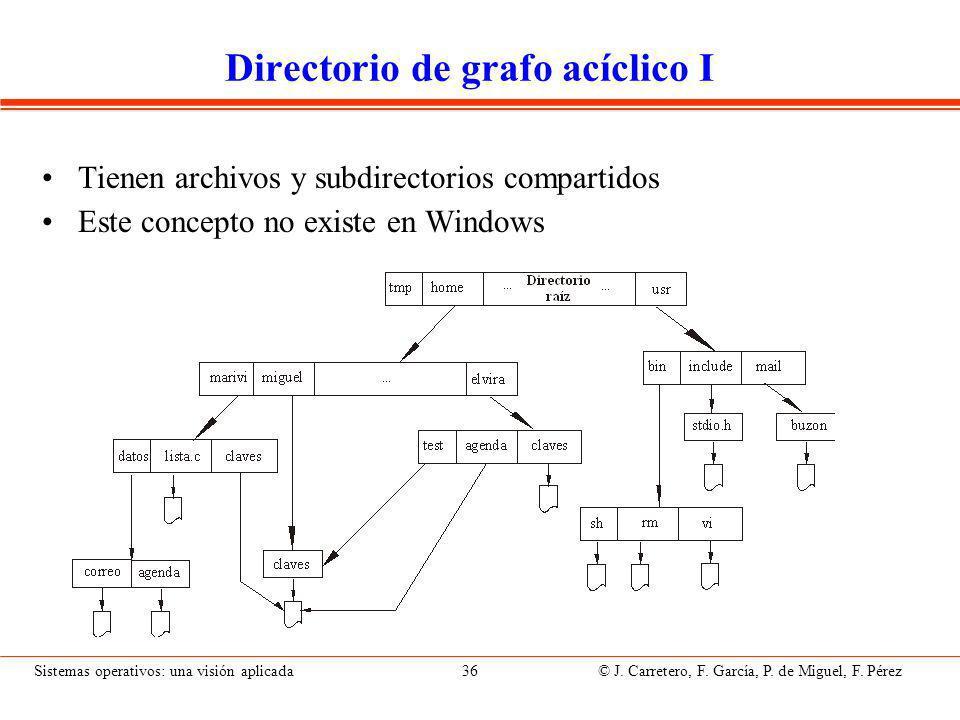 Sistemas operativos: una visión aplicada 36 © J.Carretero, F.