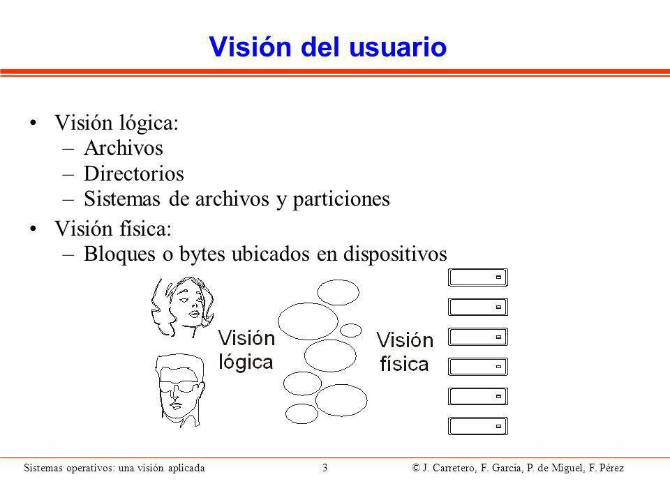 Sistemas operativos: una visión aplicada 74 © J.Carretero, F.