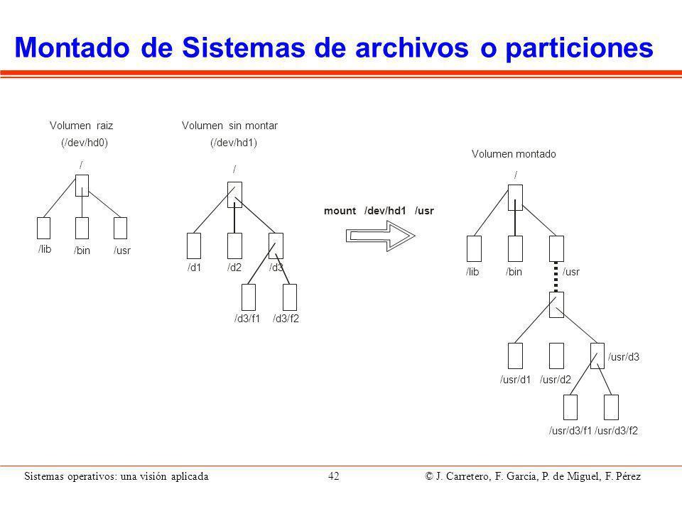 Sistemas operativos: una visión aplicada 42 © J.Carretero, F.