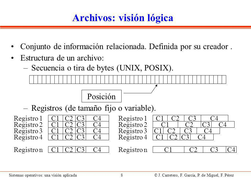Sistemas operativos: una visión aplicada 29 © J.Carretero, F.