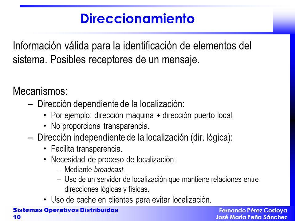 Fernando Pérez Costoya José María Peña Sánchez Sistemas Operativos Distribuidos 10 Direccionamiento Información válida para la identificación de eleme