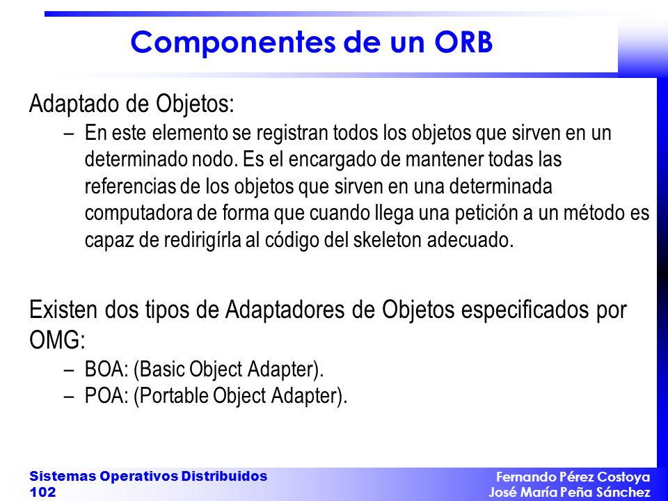 Fernando Pérez Costoya José María Peña Sánchez Sistemas Operativos Distribuidos 102 Componentes de un ORB Adaptado de Objetos: –En este elemento se re