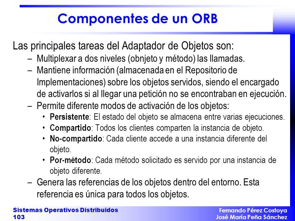 Fernando Pérez Costoya José María Peña Sánchez Sistemas Operativos Distribuidos 103 Componentes de un ORB Las principales tareas del Adaptador de Obje
