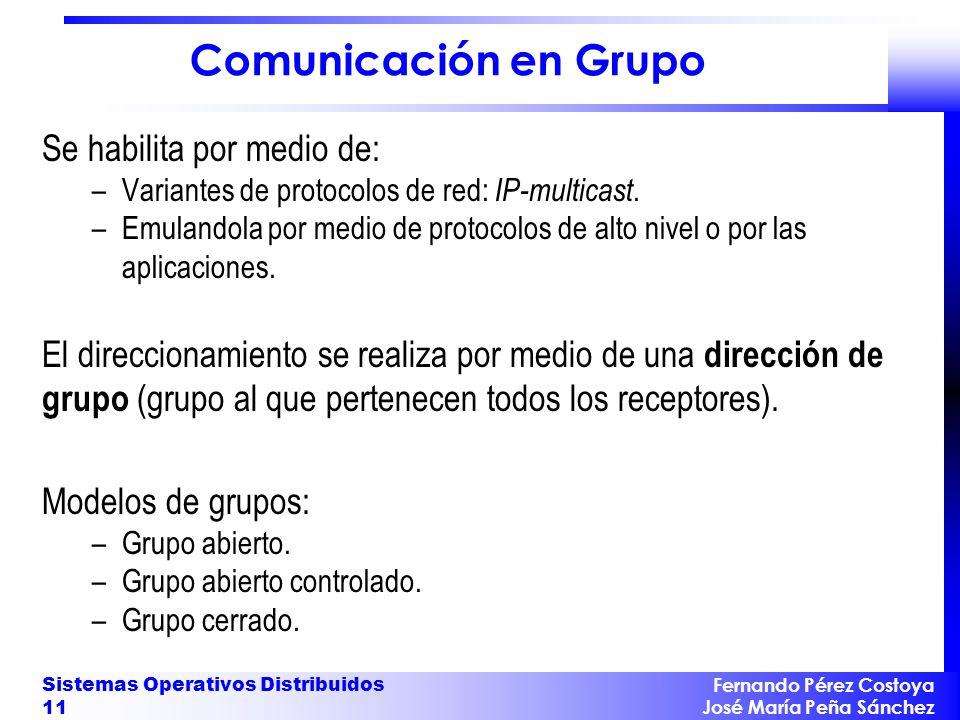 Fernando Pérez Costoya José María Peña Sánchez Sistemas Operativos Distribuidos 11 Comunicación en Grupo Se habilita por medio de: –Variantes de protocolos de red: IP-multicast.