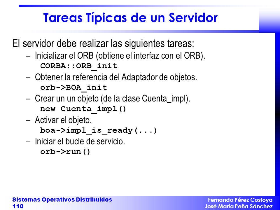 Fernando Pérez Costoya José María Peña Sánchez Sistemas Operativos Distribuidos 110 Tareas Típicas de un Servidor El servidor debe realizar las siguie