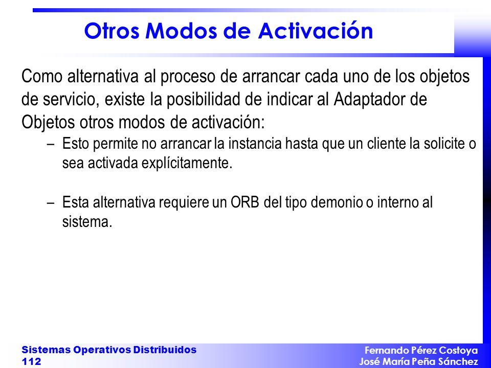 Fernando Pérez Costoya José María Peña Sánchez Sistemas Operativos Distribuidos 112 Otros Modos de Activación Como alternativa al proceso de arrancar
