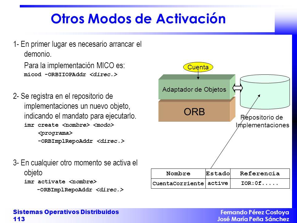 Fernando Pérez Costoya José María Peña Sánchez Sistemas Operativos Distribuidos 113 Otros Modos de Activación 1- En primer lugar es necesario arrancar