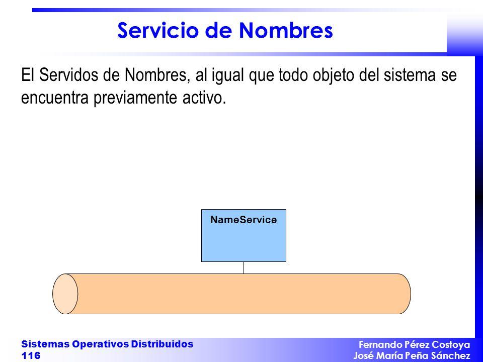 Fernando Pérez Costoya José María Peña Sánchez Sistemas Operativos Distribuidos 116 NameService Servicio de Nombres El Servidos de Nombres, al igual q