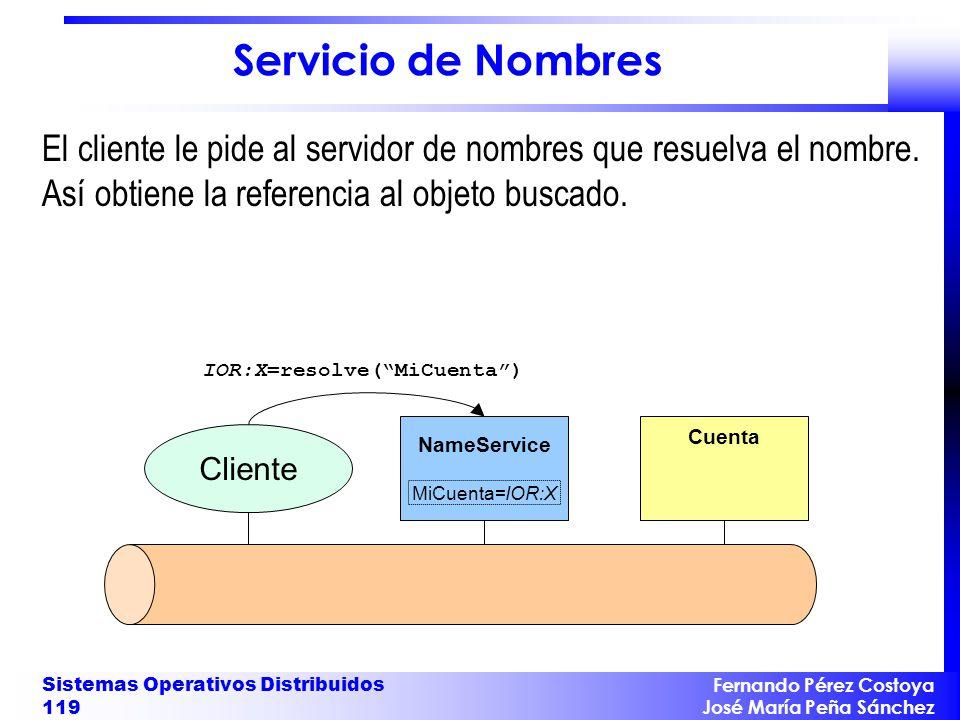 Fernando Pérez Costoya José María Peña Sánchez Sistemas Operativos Distribuidos 119 NameService MiCuenta=IOR:X Cuenta IOR:X=resolve(MiCuenta) Cliente Servicio de Nombres El cliente le pide al servidor de nombres que resuelva el nombre.