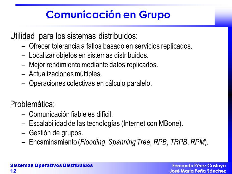 Fernando Pérez Costoya José María Peña Sánchez Sistemas Operativos Distribuidos 12 Comunicación en Grupo Utilidad para los sistemas distribuidos: –Ofr