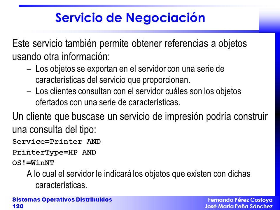 Fernando Pérez Costoya José María Peña Sánchez Sistemas Operativos Distribuidos 120 Servicio de Negociación Este servicio también permite obtener refe